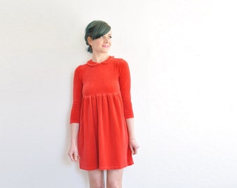 ruby red velvet peter pan collar dress . dolly valentine frock .extra small.xs