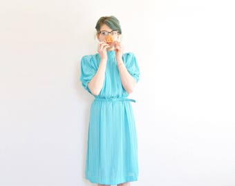 1980 turquoise teacher dress . pin stripe short collar frock . matching belt .small.medium