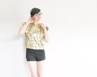 metallic gold crackle print blouse . new wave power ruffle sleeves .small.medium