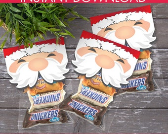 Santa Treat Bag Topper, Santa Breakfast, Santa & Pancakes,Santa Baby,Santa Party,Christmas Treat Bag Topper | Instant Download PDF Printable