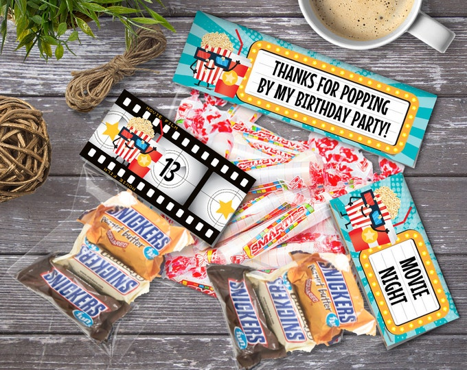 Movie Party Treat Bag Toppers, Favor Bag Toppers - Movie Birthday - 3 Editable Text Bag Toppers - DIY Instant Download PDF Printable