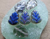 NEW BLUE BIRCH Leaves . Czech Pressed Glass Leaves (12 beads) 8 mm by 10 mm