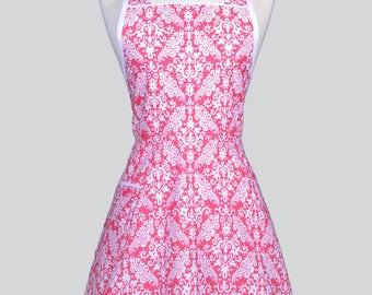 Retro Housewife Apron , Elegant Raspberry Pink and White Damask Womens Cute Vintage Inspired Full Coverage Kitchen Apron with Pockets