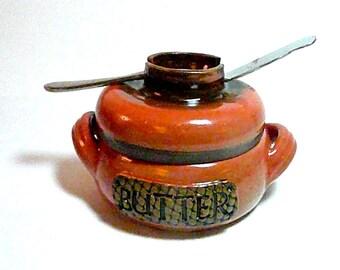 BUTTER CROCK w/ Knife Dock, Butter jar, butter keeper  ,free pendant with each order