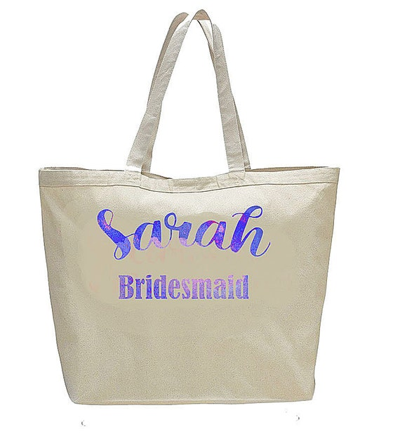 Bridesmaid Gifts, Large personalized bridesmaid bags, tote bags, watercolor name bag, bride tribe bags, canvas tote bags, wedding gifts