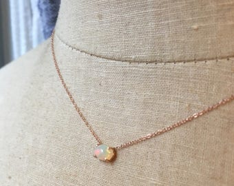 Opal Necklace, Gold Opal Necklace, Opal Solitare, Birthstone Necklace, Bridal Necklace, Wedding Jewelry, Ethiopain Opal, Welo Opal, Opal