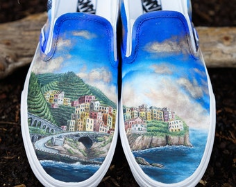 Custom Vans Shoes - Cinque Terre Italian Coastline