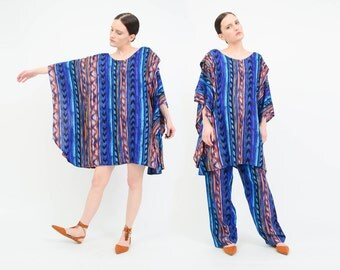 Vintage 90s Pant Suit - Tribal Caftan Mini Dress - Native Striped Trousers - Boho 2 Piece Matching Set - Blue Black - Medium M