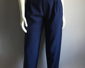 Vintage Women's 80's Navy Blue Pants, High Waisted, Pleated by Ivy Lane (M)
