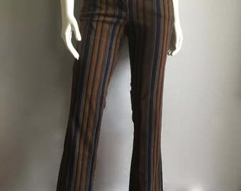 Vintage Women's 90's Striped Pants, Low Waisted, Flare Leg (M)