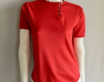 Vintage Women's 70's Red, Polyester, Blouse, Short Sleeve (M)