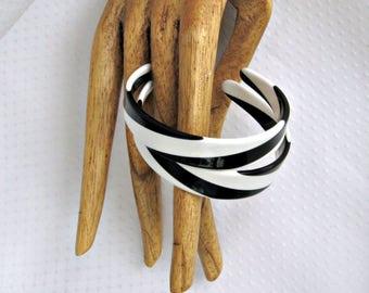 Black White Earrings Pierced Style Vintage Jewelry Large Plastic Hoops