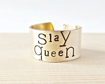 Slay Queen, Wide Band Ring for Women, Adjustable, Gold Brass, I Slay, funny jewelry, feminist, motivational, class of 2017, new job gift
