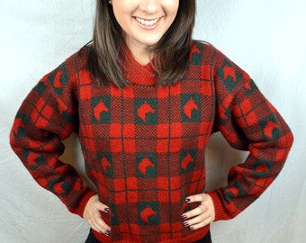 Vintage Horse Red Wool Sweater - By Kristin for Miller's