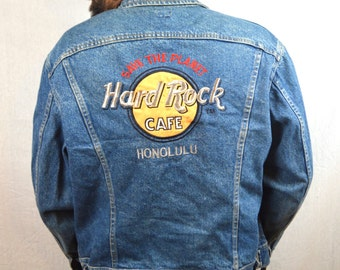 Vintage 80s Hard Rock Cafe Denim Jacket Coat - Honolulu by Lee