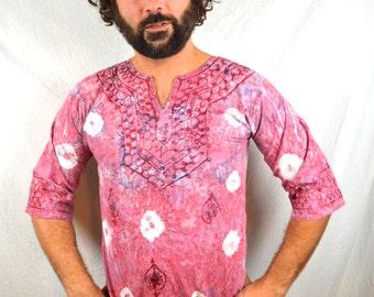 Vintage 80s 90s Ethnic Tie Dye Batik Dashiki Caftan Tunic Top Embroidered Shirt