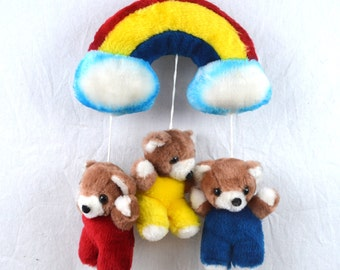 Vintage 80s Plush Tedd Bear Rainbow Clouds - Home Decor Wall Hanging