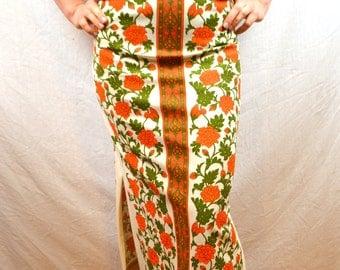 Rare Vintage 1960s Miss Shaheen High Waist Maxi Floral Skirt