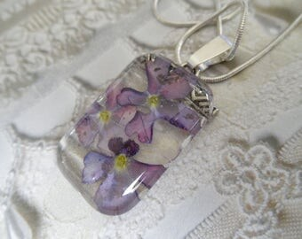 Ombre Lavender Verbena Domed Rectangle Glass Pressed Flower Pendant-Symbolizes Enchantment-Nature's Wearable Art