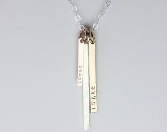 Long Vertical Bar Necklace with names, personalized, custom, gift for mom, three, minimalist silver, rose gold filled, yellow gold filled