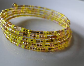 Yellow & gold beaded coil wrap bracelet, memory wire