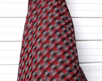 vintage 60s/70s camp plaid polyester knit maxi skirt