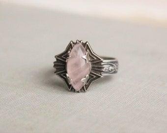Rose Quartz Ring. Adjustable