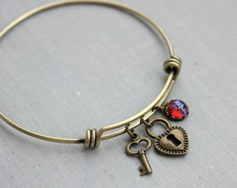 Dragons Breath Mexican Fire Opal Bangle Charm Bracelet in Antique Brass. Key to my Heart