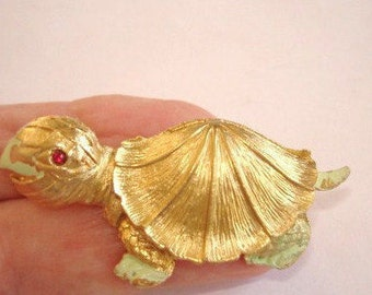Turtle with Red Rhinestone Eye Animal Brooch Gold  Tone Brooch