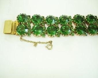 Signed Made in Austria  Vintage Jewelry Green  Rhinestone  Bracelet
