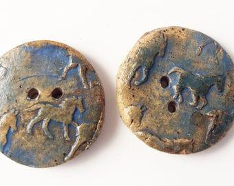 "Horse Buttons, handmade Stoneware Pottery Button, 1 1/4"" Blue, Equestrian"