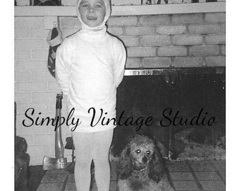 Vintage Photo ~ Child in HALLOWEEN COSTUME with POODLE ~ Black and White Photo ~ Antique Photograph ~ Old Snapshot ~ Paper Ephemera