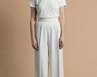 Vintage 80s White Wool Chezani Trousers | 4