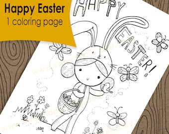 1 Cute kids Coloring page, Happy Easter, Fun kids activities