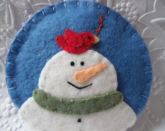 Snowman Ornament Primitive Cardinal Tree Decoration Penny Rug Wool Felted Bird