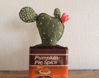Felt White Spotted Green Cactus with Pink Flower in Brown and Orange Durkee's Vintage Pumpkin Pie Spice Tin/Home Kitchen Decor Gift Holiday