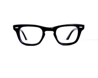 50s 60s Black Wayfarer Style Eyeglasses Unisex Vintage 1950's 1960's with Silver Detail Frames with Key Hole  #M744 DIVINE