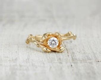 Rose Gold Moissanite Engagement Ring - Nature Inspired Ring in Rose Gold, White Gold, Yellow Gold or Platinum