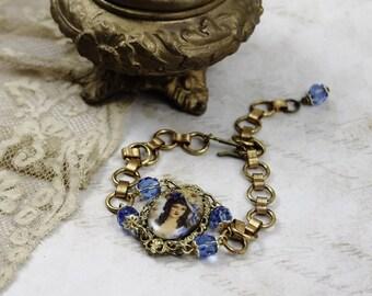 Vintage Assemblage French Bracelet, Antique Assemblage Bracelet, Portrait French Bracelet, Porcelain Cameo Bracelet