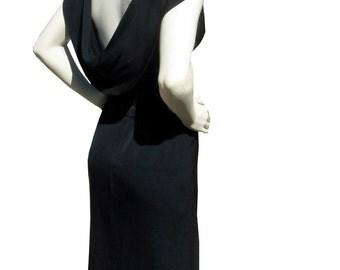 44 bust Vintage 1950s Dress Low Back Karen Stark for Harvey Berin Dress Black Rayon 50s 60s L Classic Sophisticated Designer Cocktail Party
