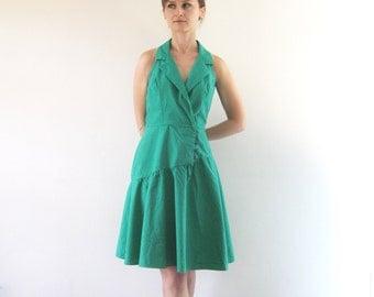1980s Vintage Green Asymmetrical Dress Sleeveless Halter Collar Fit & Flare Dress XS