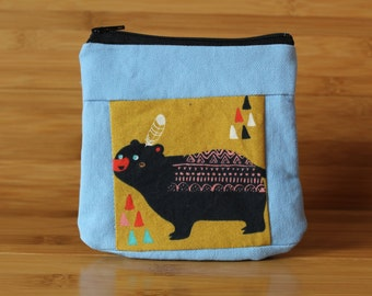 Organic Black Bear zipper pouch