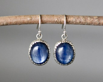 Kyanite Earrings - Bali Silver Earrings - Blue Kyanite - Blue Gemstone Earrings - Silver Bezels - Silver Charm Earrings - Bridal Jewelry