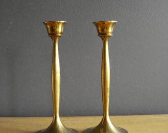 Brass Candle Stick Pair - Set of Two Vintage Brass Candle Holder - 8.75 inch Tall Brass Candlesticks