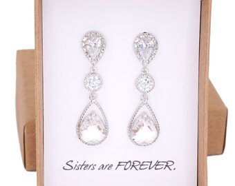 Macaria - Silver Teardrop Crystal Earrings, Bridesmaid Earrings, Bridal Wedding Jewelry, Cubic Zirconia, Glass