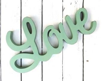 Love Wood Sign, Green Love Sign, Romantic Gift, Wedding Gift, Shabby Decor, Cottage Decor, Farmhouse Decor, Wall Decor, Housewarming Gift