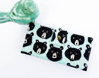 Cute wallet, womens clutch, bear wallet, bear gift idea, wallet for woman, gift for woman, checkbook wallet, travel wallet