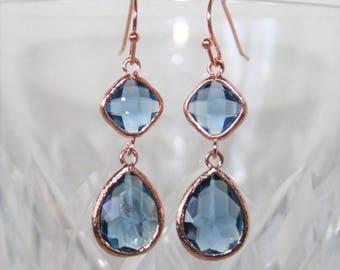 Blue Bridal Earrings,Sapphire earrings,Rose gold earrings,Navy earring,Montana Blue Teardrop dangle Earrings,Sapphire jewelry,Something Blue