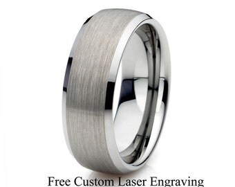 Mens Tungsten Wedding Band Brushed Polished Domed Beveled Edge 8mm Width Tungsten Carbide Wedding Band His Anniversary Ring Custom Engraving