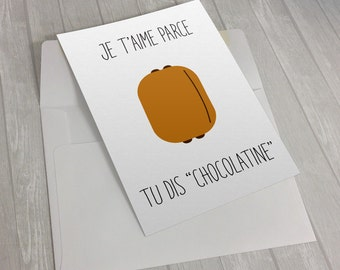 Printable Love card Valentine's Day funny greeting card - Download for last-minute gift - FRENCH VERSION